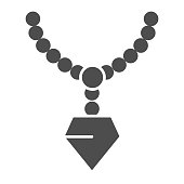 Pendant with gemstone solid icon. Chain with pendant vector illustration isolated on white. Jewellery glyph style design, designed for web and app. Eps 10