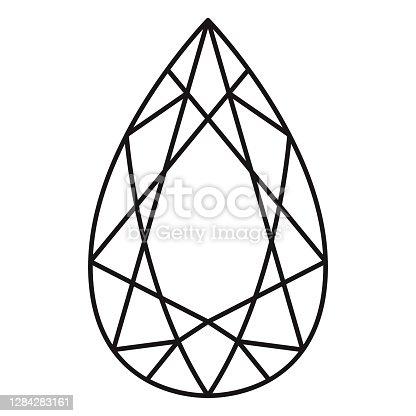 istock Pendeloque Cut Gemstone Icon on Transparent Background 1284283161