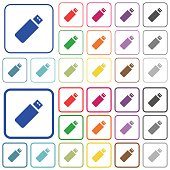 Pendrive outlined flat color icons