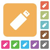 Pendrive rounded square flat icons
