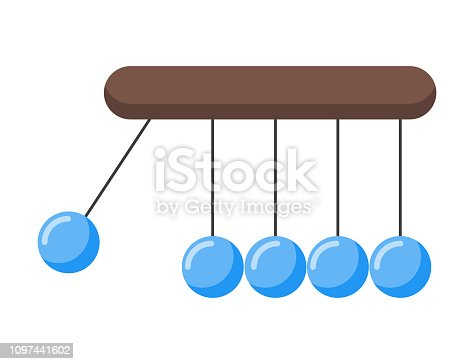 Pendulum, ball blue colored on a white background, vector