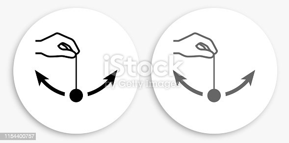 Pendulum Black and White Round Icon. This 100% royalty free vector illustration is featuring a round button with a drop shadow and the main icon is depicted in black and in grey for a roll-over effect.