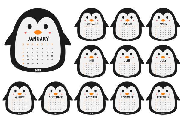 ilustrações, clipart, desenhos animados e ícones de pinguim 2018 calendário cartoon vetor - calendário de vida selvagem