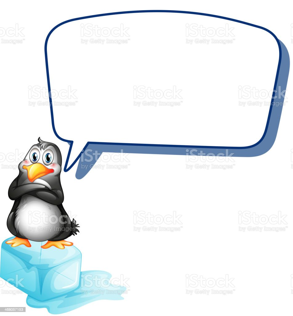 penguin above an icecube with empty callout royalty-free stock vector art