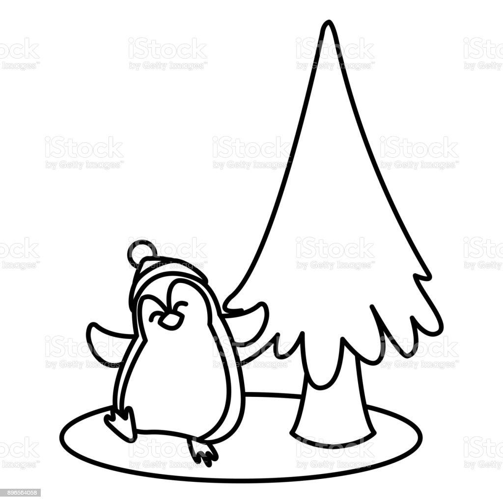 Ilustración De Dibujos Animados De Pingüinos Y árbol De Navidad Y