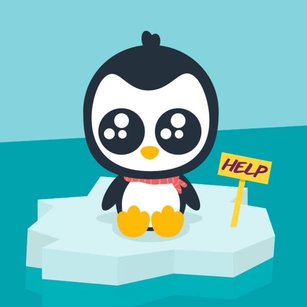 Penguin pidiendo ayuda - ilustración de arte vectorial