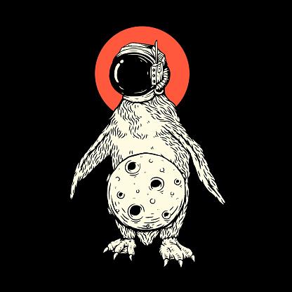 penguin astronaut wearing helmet illustration