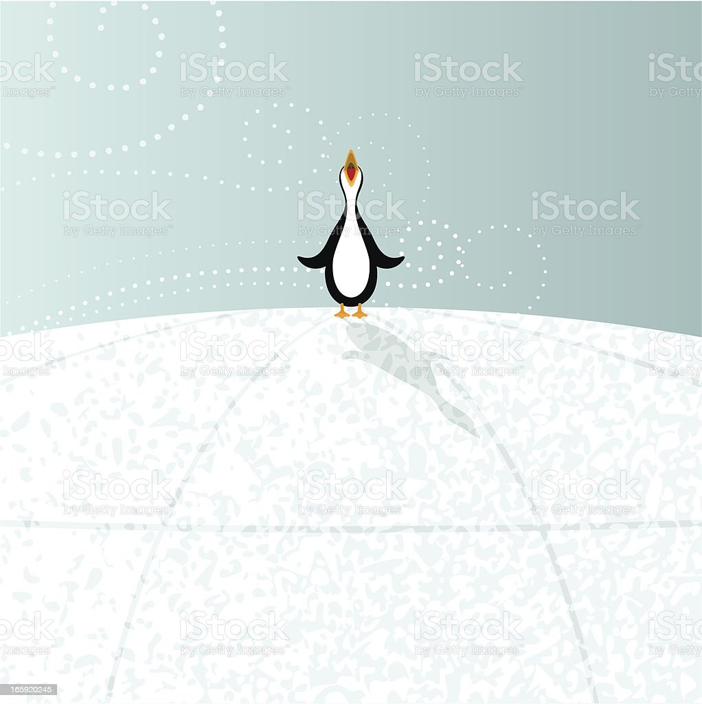 Penguin at the north pole vector art illustration