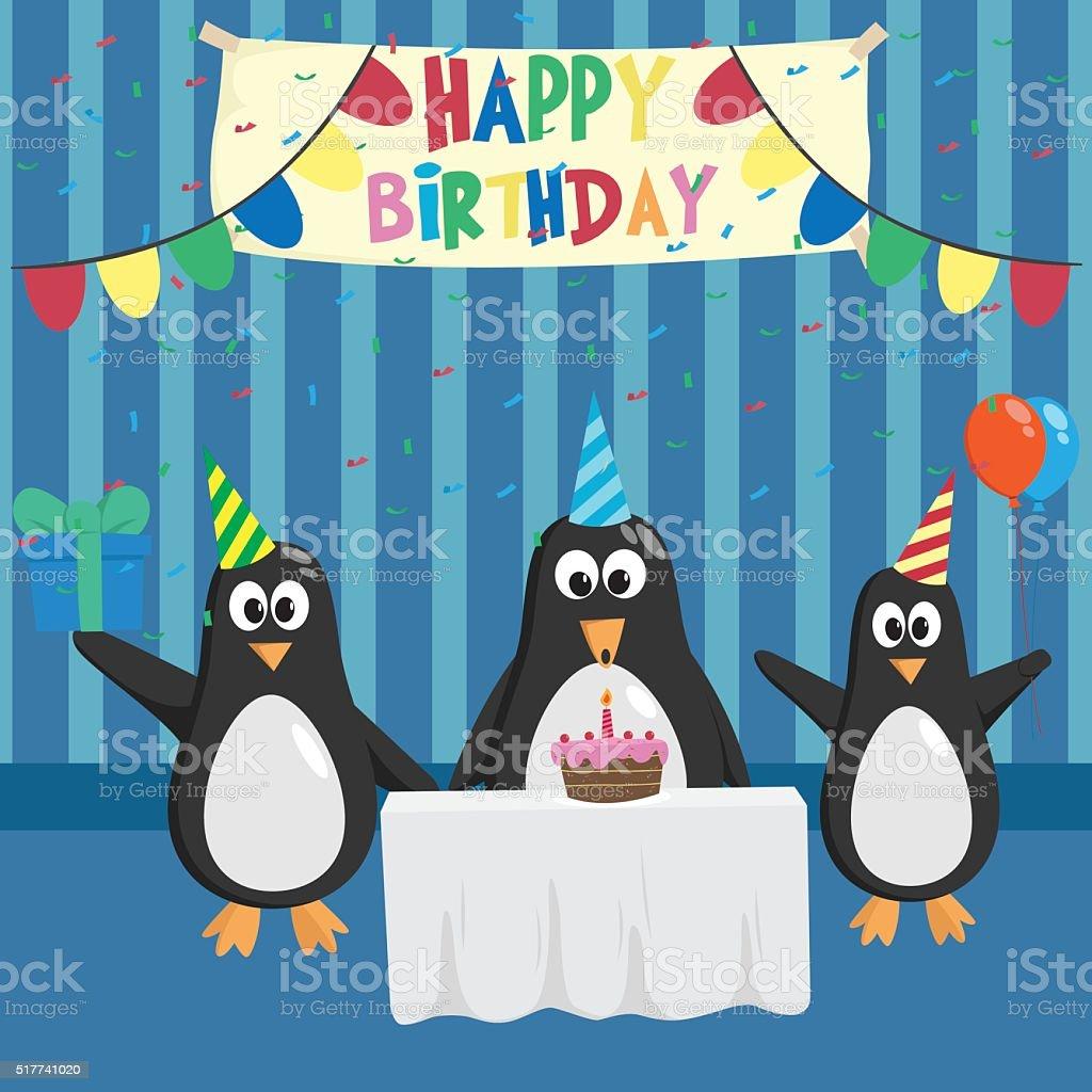 Pinguin Geburtstag Partei Mit Kuchen Und Ballons Stock Vektor Art