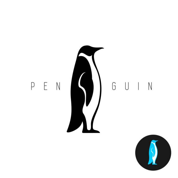penguin black silhouette vector symbol. side view of a standing pe - penguin stock illustrations