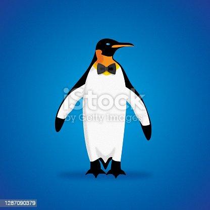 istock Penguin Bowtie Icon Flat 2 1287090379