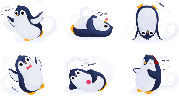 Penguin cartoon illustration. Penguin vector illustrations. Set. Stickers with penguin. – artystyczna grafika wektorowa
