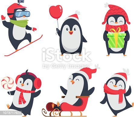 Penguin characters. Cartoon winter illustrations of wildlife animals in various action pose vector mascot design. Penguin arctic north, happy bird activity, snowboard and sleigh illustration