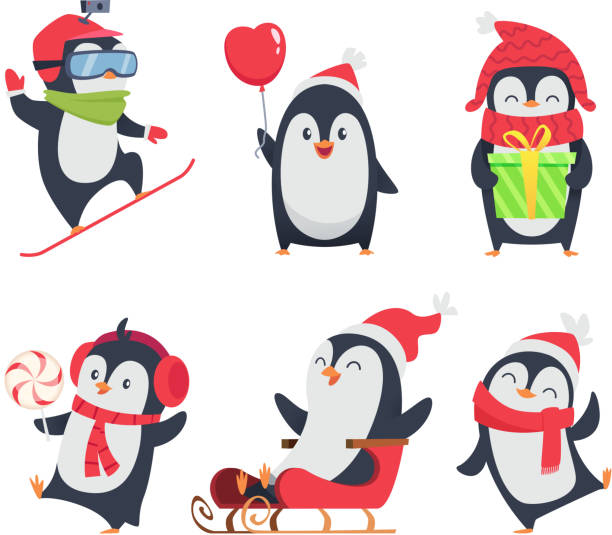 pinguin figuren. cartoon-winter-illustrationen von wildtieren in verschiedenen aktion pose vektor-maskottchen-design - pinguin stock-grafiken, -clipart, -cartoons und -symbole