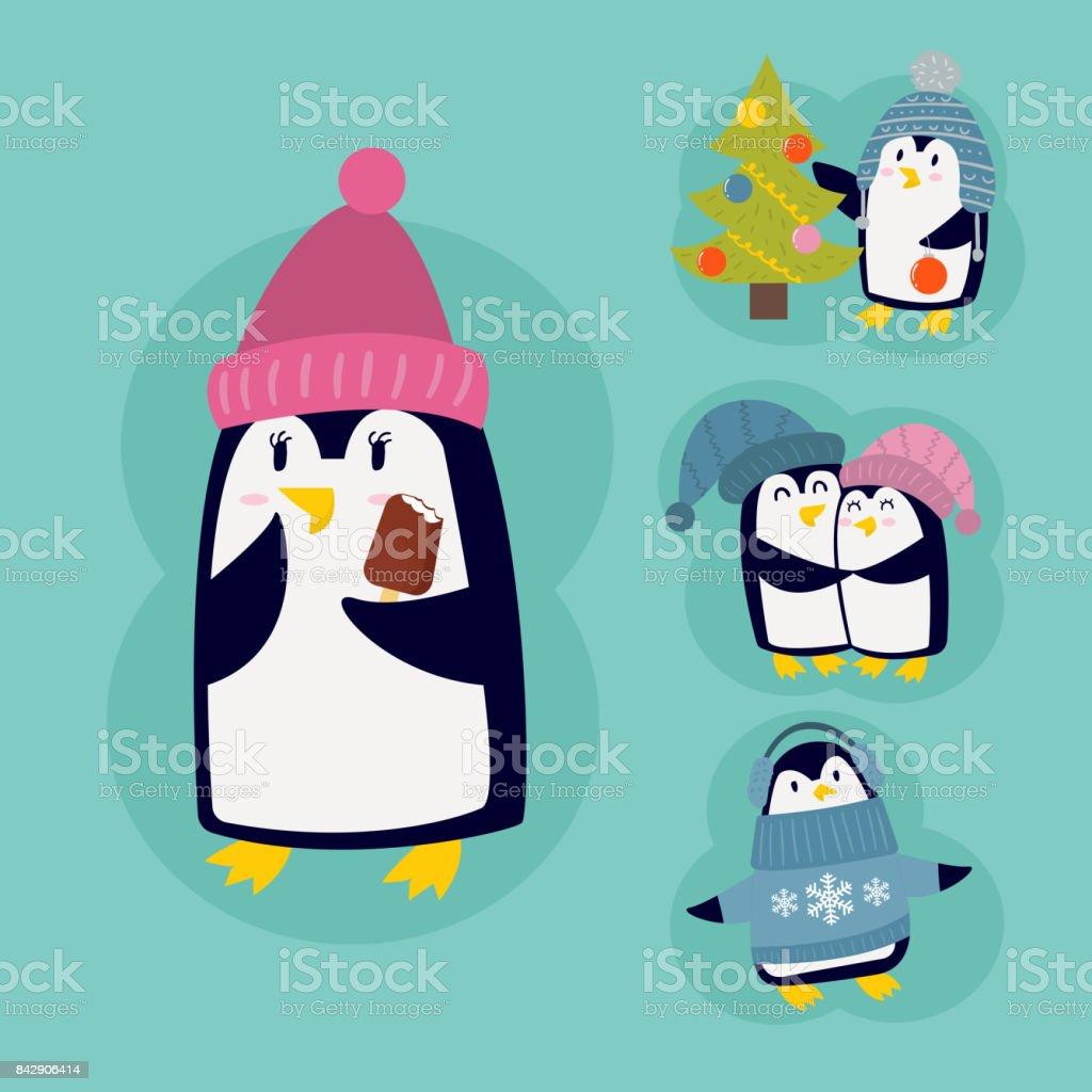 ペンギン クリスマス ベクトル イラスト文字漫画面白いかわいい動物南極
