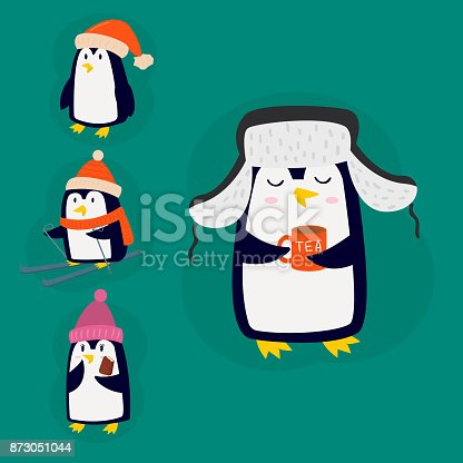 pingouin no l vector illustration personnage dessin anim dr le mignon animal antarctique bec. Black Bedroom Furniture Sets. Home Design Ideas