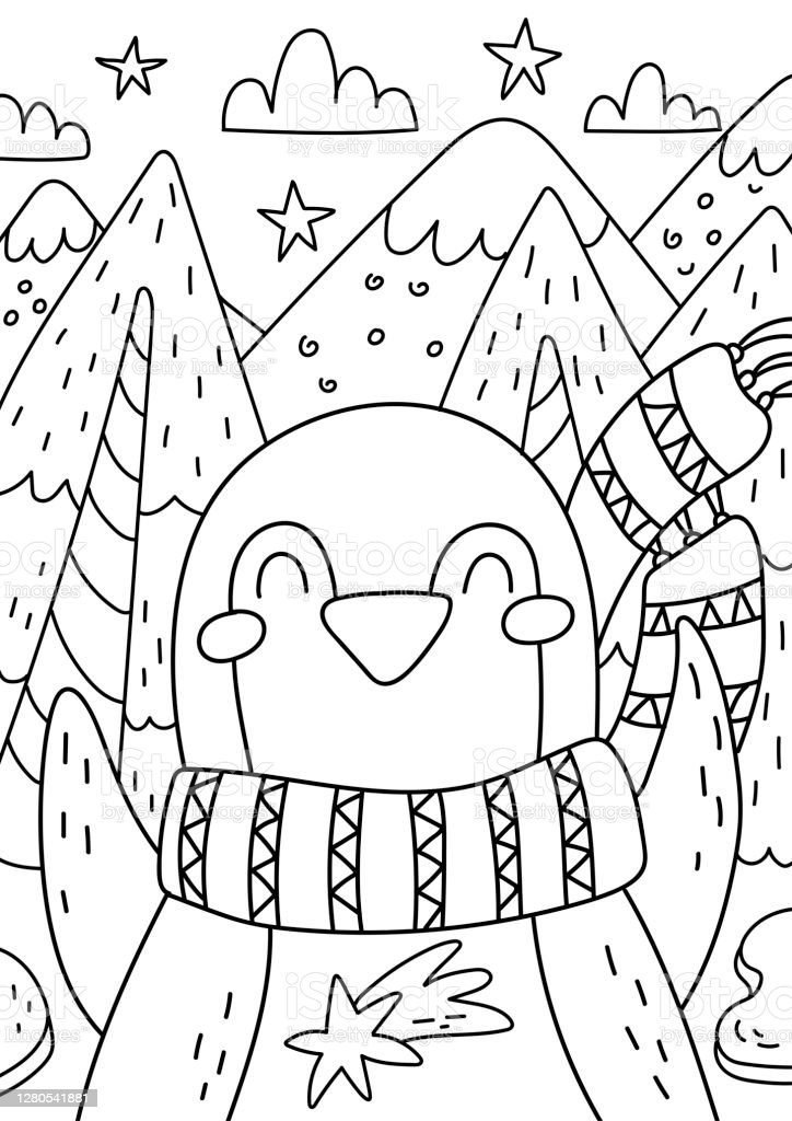 Penguin Coloring Book For Kids And Adults Beautiful Christmas Coloring Page Stock Illustration Download Image Now Istock