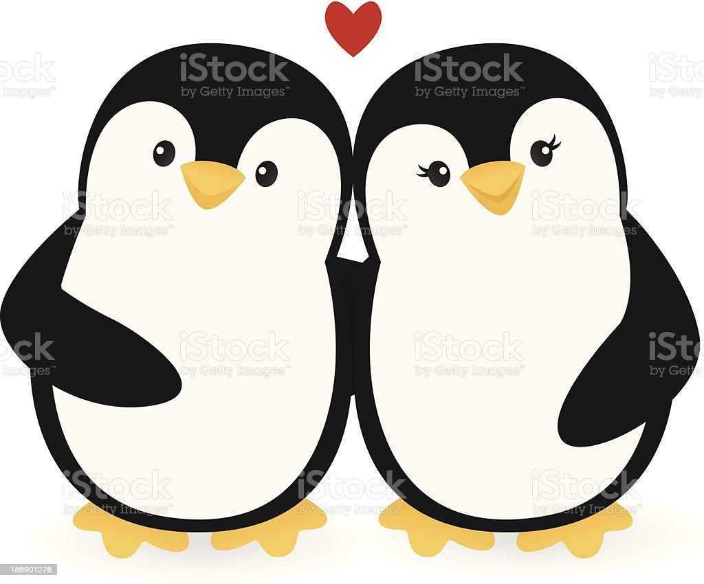 Penguin Couple vector art illustration
