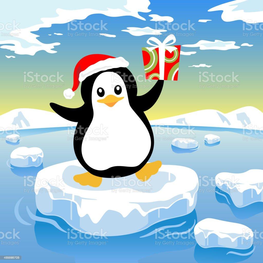 Penguin Delivering Present vector art illustration