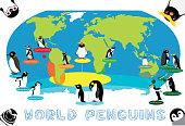 Penguin Distribution World Map Cartoon Vector