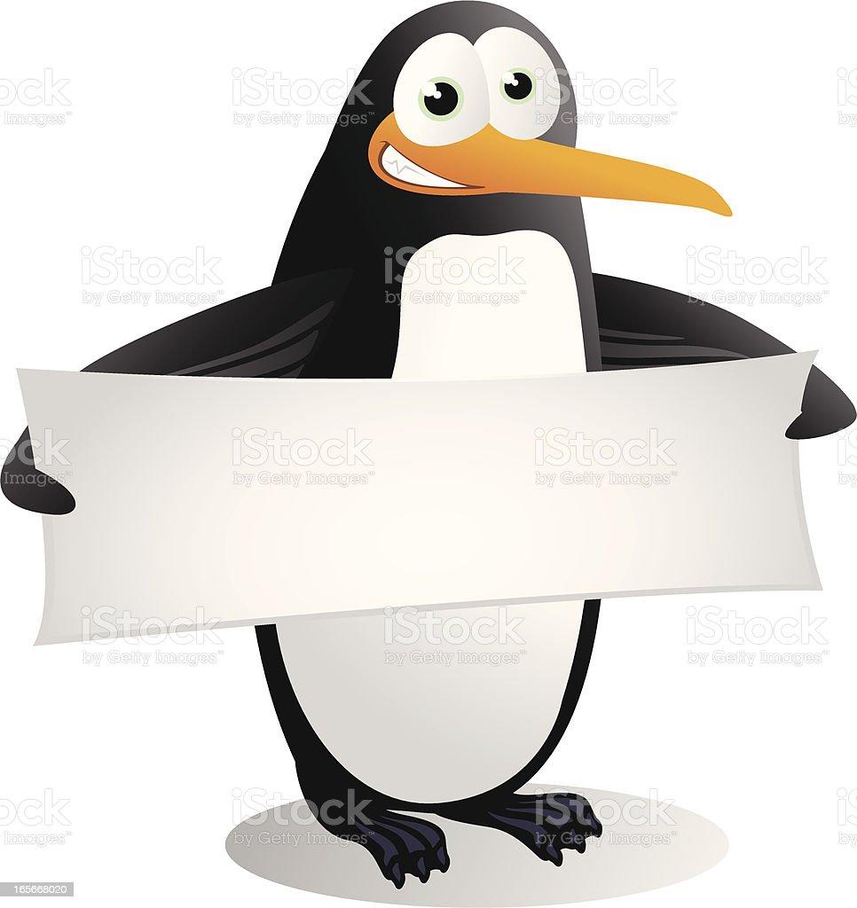 Penguin holding a blank banner vector art illustration