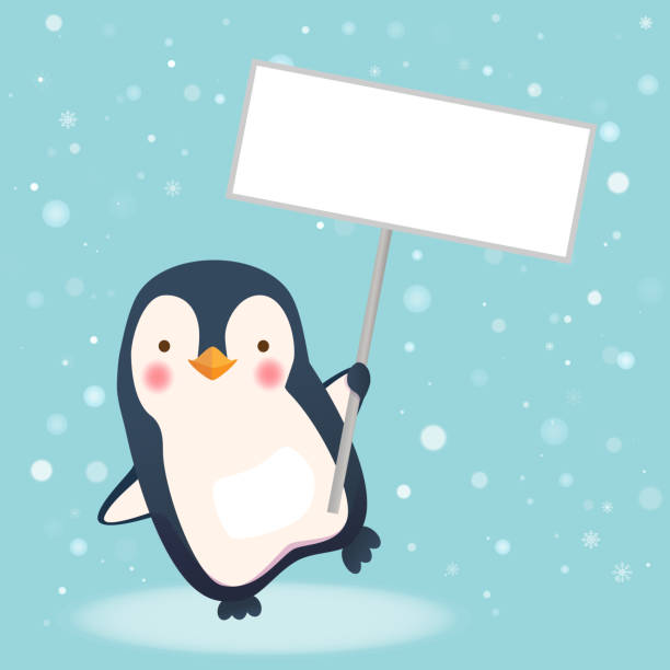 penguin holding sign. save wildlife protect world concept - penguin stock illustrations