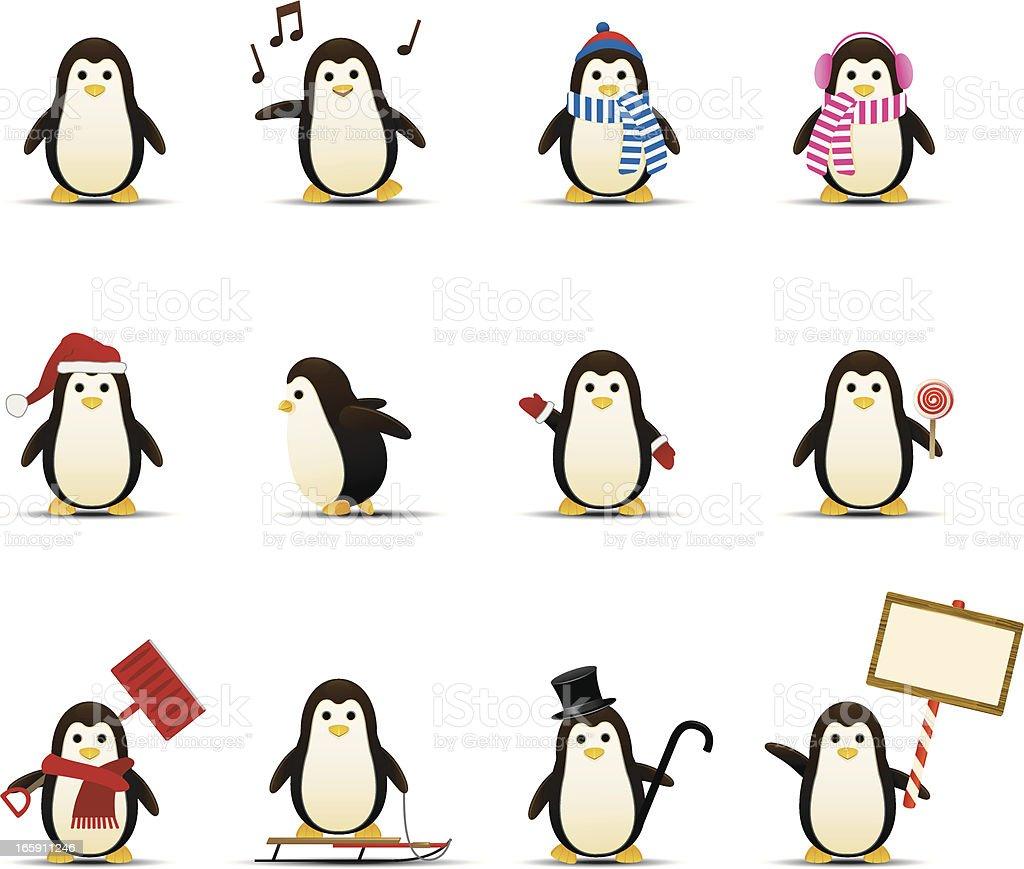 Penguin Icons vector art illustration
