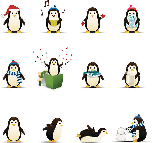 penguin icons - penguin stock illustrations