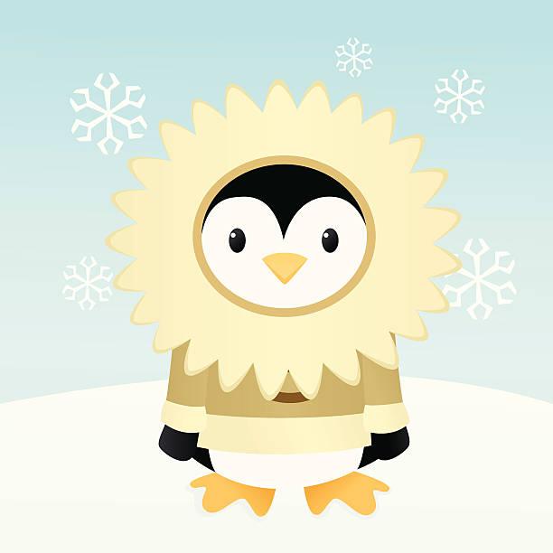 penguin in parka - parkas stock-grafiken, -clipart, -cartoons und -symbole