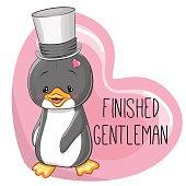 Greeting card cute cartoon Penguin in a hat