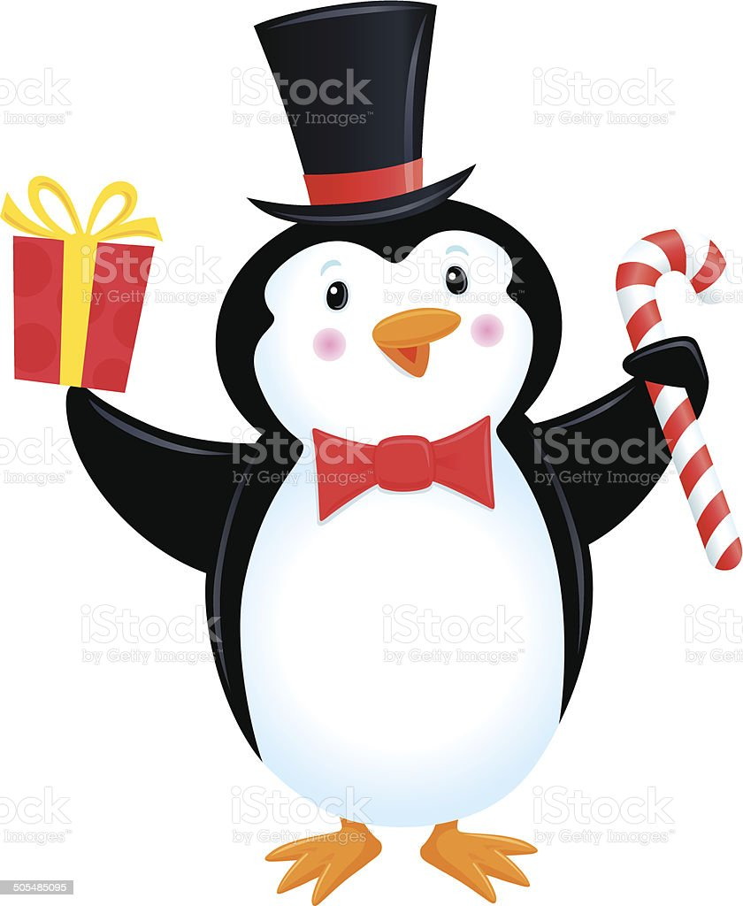 Penguin in a Top Hat and Bow Tie Drop Earrings