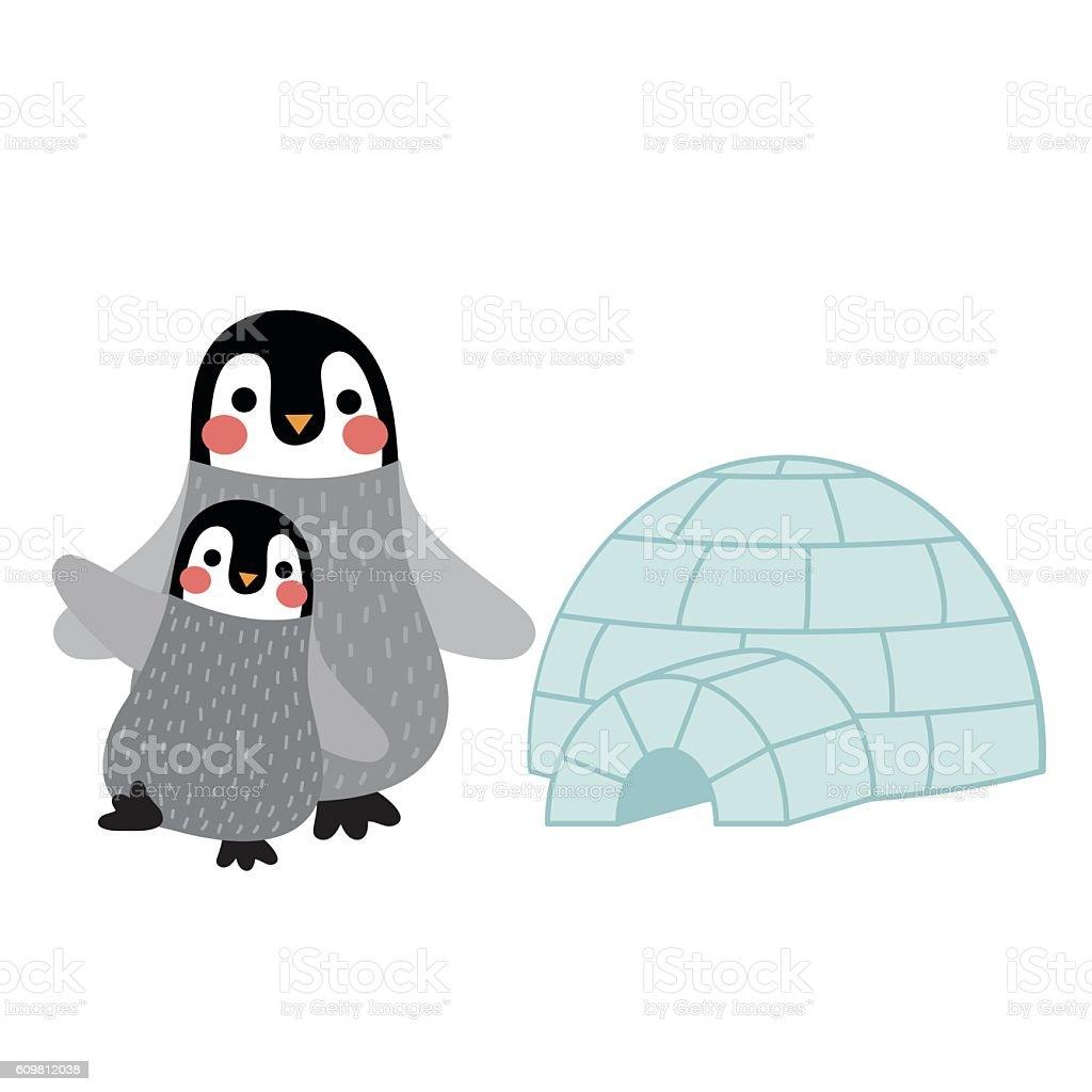 Penguin mother and child  animal cartoon character vector illustration. vector art illustration