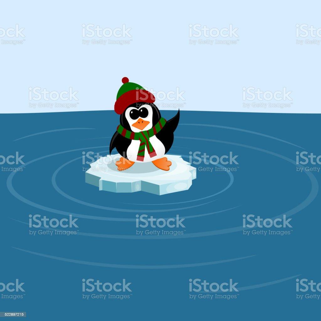 Penguin on an ice floe in the sea vector art illustration