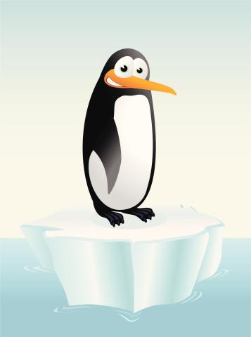 Penguin on an iceberg cartoon