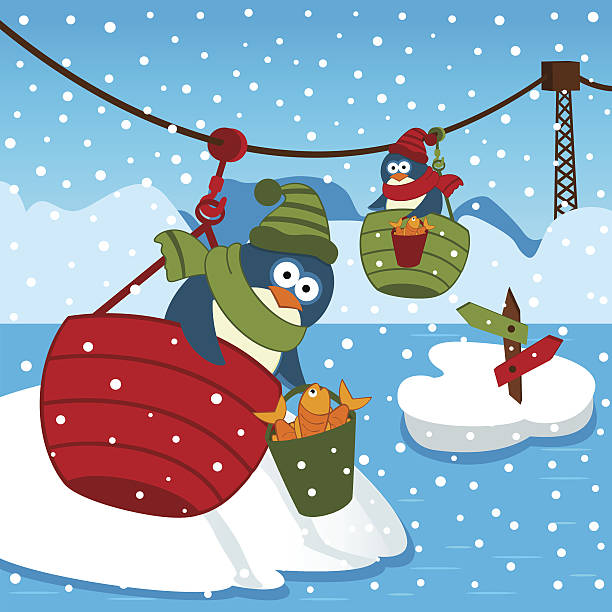 penguin on ropeway vector art illustration