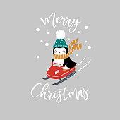 Penguin on snowmobile