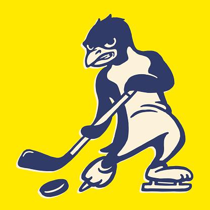 Penguin Playing Hockey