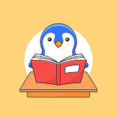 Penguin reading book on classroom table for animal activity vector outline illustration mascot