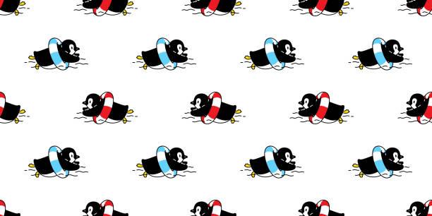 stockillustraties, clipart, cartoons en iconen met pinguïn naadloze patroon vogel zwembad ring vector cartoon zeestrand zomer sjaal geïsoleerd herhalen behang tegel achtergrond illustratie doodle ontwerp - pinguins swimming