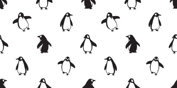 stockillustraties, clipart, cartoons en iconen met penguin naadloze patroon vector vogel vis zalm cartoon sjaal geïsoleerde tegelachtergrond repeat wallpaper illustratie doodle - pinguins swimming