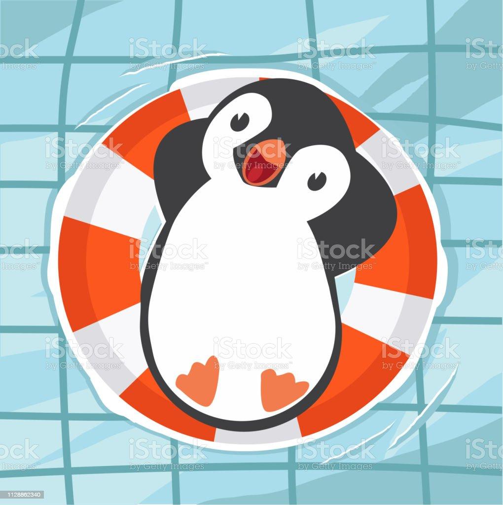 pinguim nadando na piscina - ilustração de arte em vetor