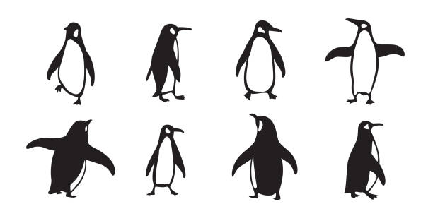 pinguin vektor icon logo cartoon charakter fisch lachs abbildung doodle - pinguin stock-grafiken, -clipart, -cartoons und -symbole