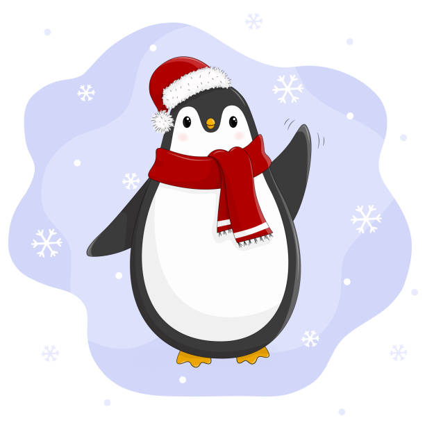 Penguin waving. Cute penguin cartoon vector illustration. – artystyczna grafika wektorowa