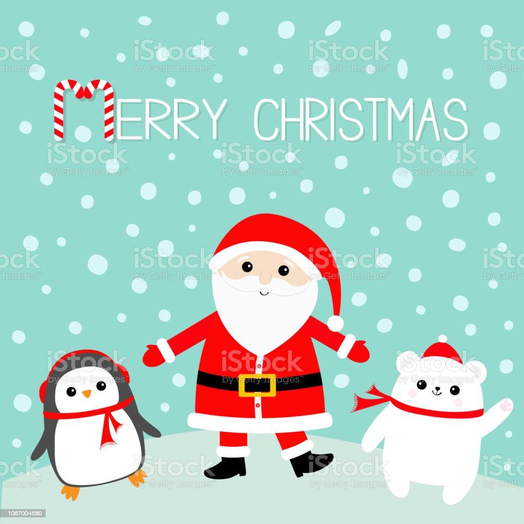Ilustracion De Pinguino Oso Polar Blanco Santa Claus Con Traje