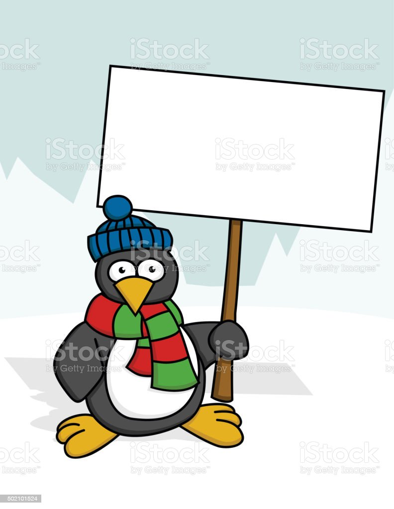 Penguin with a Sign royalty-free penguin with a sign stock vector art & more images of animal