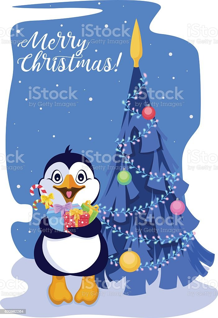 Penguin with gifts on the background of decorated Christmas tree ilustração de penguin with gifts on the background of decorated christmas tree e mais banco de imagens de andando royalty-free