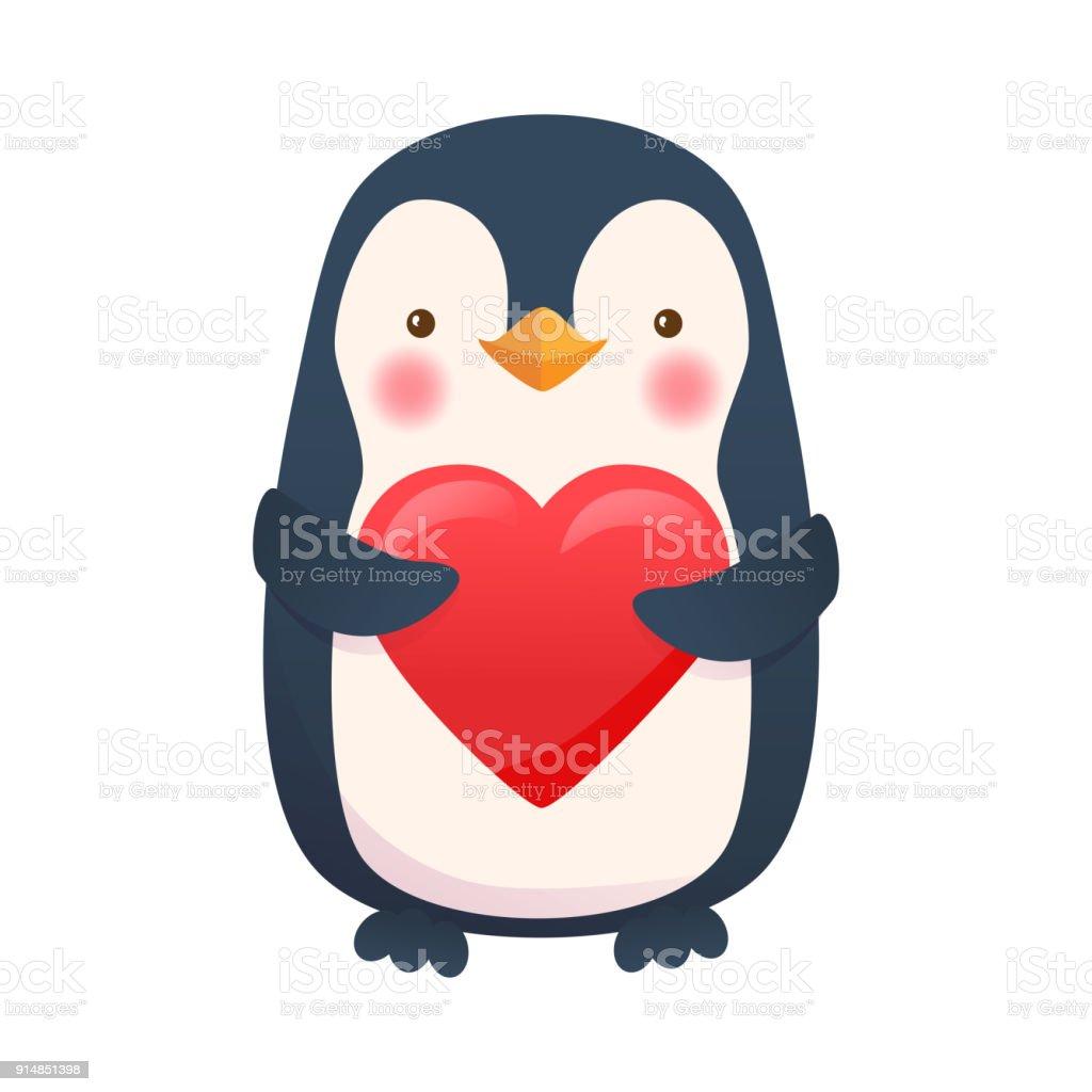 Ilustración de Pingüino Con El Corazón Ilustración De Vector De ...