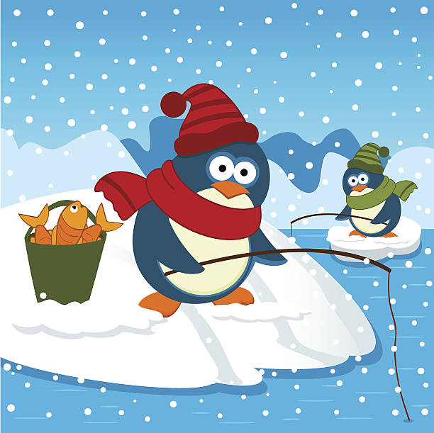 Penguins are on fishing vector art illustration