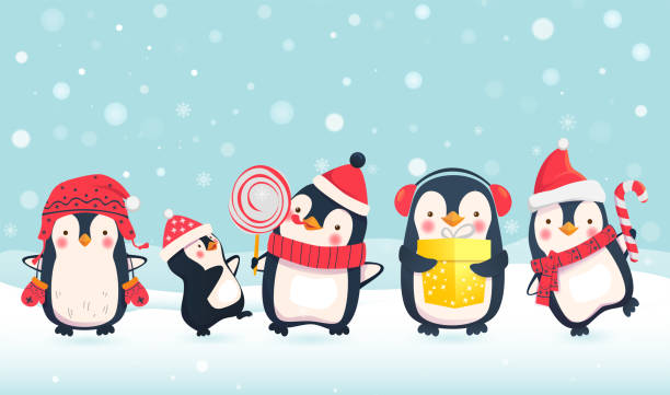 pinguine cartoon illustration - pinguin stock-grafiken, -clipart, -cartoons und -symbole