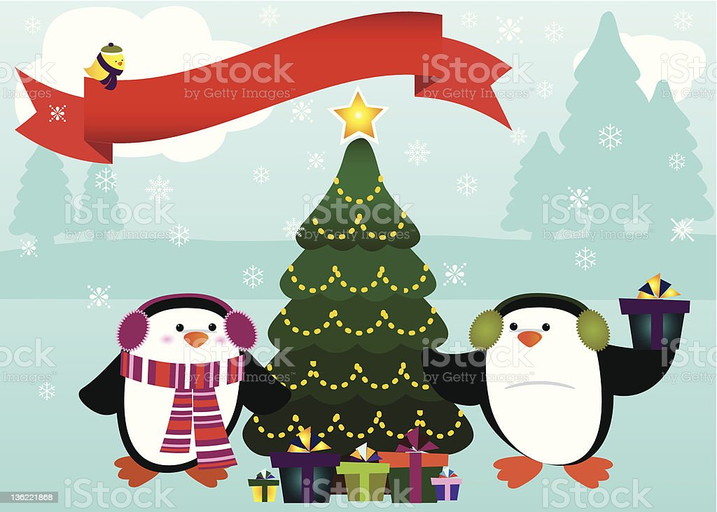 Penguins Celebrating Christmas on Snowy Evening vector art illustration